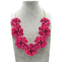 Rose Pink Flower Gold Chain Necklace Rhinestone Acrylic Beads Bib Statement A02