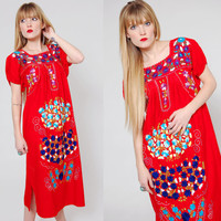 Vintage 80s MEXICAN Dress Red FLORAL Embroidered Dress Ethnic Hippie Festival Dress