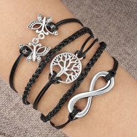 Pugster Silver Infinity LOVE Anchor Rudder Leather Nautical Friendship Bracelet