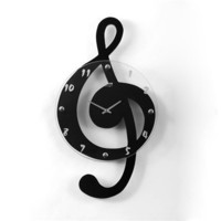 Ashton Sutton ST3106 Musical Clef Clocks Hanging Clock, Black  - Decor Universe