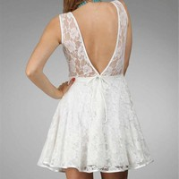 White Floral Lace Dresses