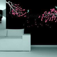 Cherry Blossom tree wall decal, graphic tree decal, wall sticker, bird decal, wall graphic, vinyl decal for spring, graphic image