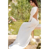 Vintage Long Sleeves Round Collar Satin Backless Wedding Dress