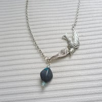 silver bird necklace silver chain necklace bird pendant blue bead necklace handmade necklace for women fashion jewellery bead jewellery gift
