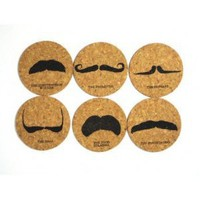 Mustache Eco Cork Coaster Set