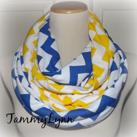 Royal Blue & Yellow Chevron 2 Pair Team Colors RAMS WVU Jersey Knit Infinity Scarves Game Day Team