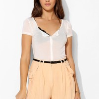 Project Social T Sheer Button-Down Tee - Urban Outfitters