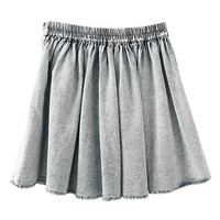 ROMWE Zippered Washed Elastic Pleated Skirt