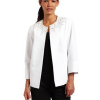 Alfred Dunner Women's Crystal Embellished Jacket