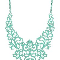Bar III Mint-Tone Lace Design Bib Necklace