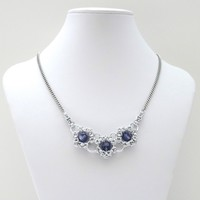Tanzanite crystal Byzantine chainmaille necklace