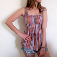Vintage Pink Rainbow Tank Tunic Purple Violet Flowers Summer Bohemian Hippie 70s Striped Stripes Stripe