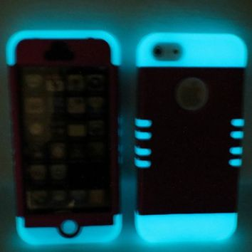 Comkes 3-Piece Soft Silicone Hybrid Hard Luminous Style Glowing Skin Back Case Cover For iPhone 5 5G (Blue+Black)