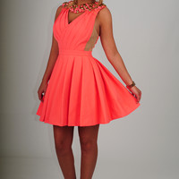 Set In Stone Dress: Hot Coral