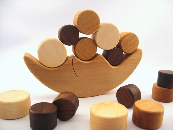 organic smiling moon and stars BALANCING TOY  by smilingtreetoys