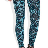 Teal and Black Aztec Print Leggings