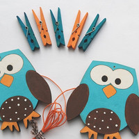 Children's Artwork display hanger- Owls- Blue, orange and brown- kids wall art, owl wall art, boys decor, displaying kids artwork