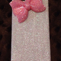 Handmade bling bow glitter iPhone 5 case, iPhone 5s, iPhone 4
