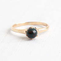 Antique 9k Rose Gold Victorian Bloodstone Ring - Vintage Early 1900s Size 6 1/2 Dark Green Stone with Red Specks Fine Jewelry
