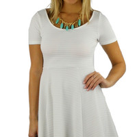 Short Sleeve Textured Skater Dress - Ivory