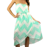 Strapless Chevron Tulip Midi Dress - Mint/White