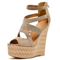 Chevron Open Toe Wedge