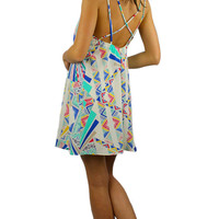 Strappy Back Patterned Shift Dress - White/Blue/Multi