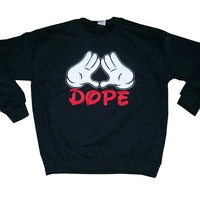 Rob's Tees Men's Dope Diamond Mickey Hands Crewneck Sweatshirt