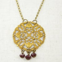 Medallion Necklace, Byzantine Necklace, Bronze Necklace, Garnet Glass Bead Drop Filigree Pendant Necklace