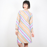 Vintage Pastel Striped Dress Midi Dress Mini Dress 1970s 70s Beige Tan Pink Blue Diagonal Stripe Shift Dress Scooter Dress M Medium L Large