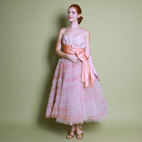 50s Pale Peach & Pink Cupcake DRESS / Tulle Full Skirt Prom Gown, s