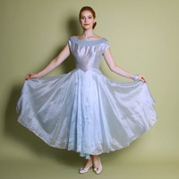50s SHIMMER Prom DRESS / Iridescent Ice Blue GOWN, xs - s