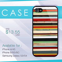stripe colorfull on wood case, wood iphone case, iphone 4 case, iphone 5 case, iphone 5s case, iphone 5c case, samsung galaxy case