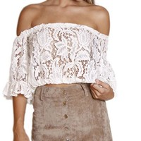 White Off the Shoulder Ruffle Short Sleeve Lace Top