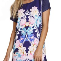 Multicolor Short Sleeve Shift Dress w/ Floral & Geometric Pr