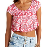 PRINTED CAP SLEEVE CROP TOP