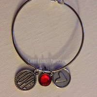 "Silver Bangle Bracelet with red gem, heart and ""love"" charms"