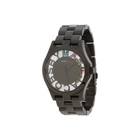 Marc Jacobs Women's 'Henry' Skeleton Stainless Steel Black Watch