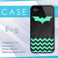 Batman and Mint Chevron on Wood case, wood iphone case, iphone 4 case, iphone 5 case, iphone 5s case, iphone 5c case, samsung galaxy case