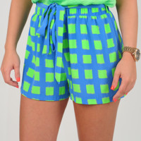 Hearts On Fire Shorts: Blue/Green