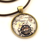 Clockwork jewelry Steampunk pendant Watch necklace Gothic style