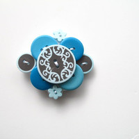Teal, Light Blue, and Gray Button Brooch Lapel Pin