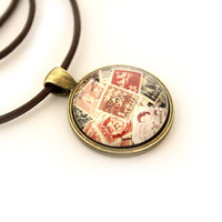Postage stamp necklace Antique mail pendant Vintage jewelry
