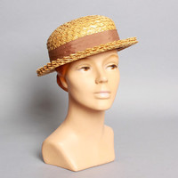 40s Natural STRAW HAT / Boater Style, Brown Ribbon Band