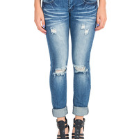 Distressed Knees Denim Skinny Jeans