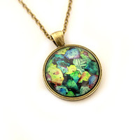 Mineral pendant Colorful gem necklace Precious stone jewelry