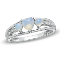 Heart-Shaped Lab-Created Opal Three Stone and Diamond Accent Ring in Sterling Silver - View All Rings - Zales