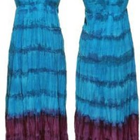 CUTE OPTIONS Crinkled Strapless Tie Dye Maxi Dress [7602L], Turq/Purple