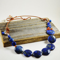 Sundance style necklace leather and bead necklace Necklace lapis lazuli carnelian necklace Leather necklace cord gemstone necklace pyrite