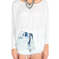 Solid Long Sleeve Dolman Top - White